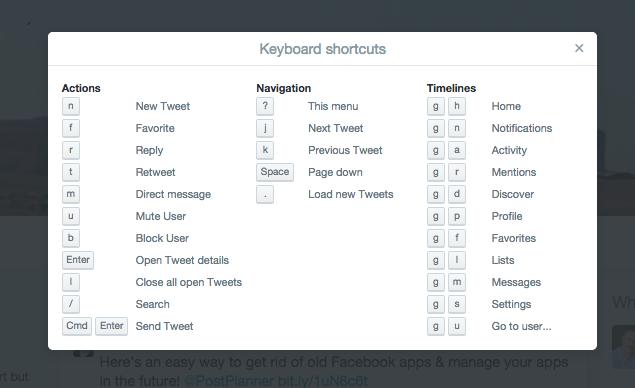 Twitter keyboard shortcuts