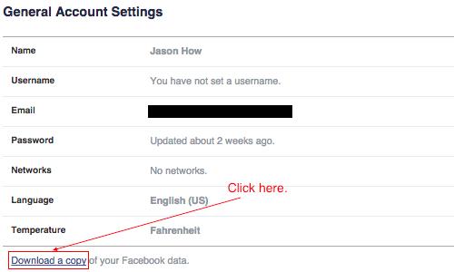 Download Facebook history