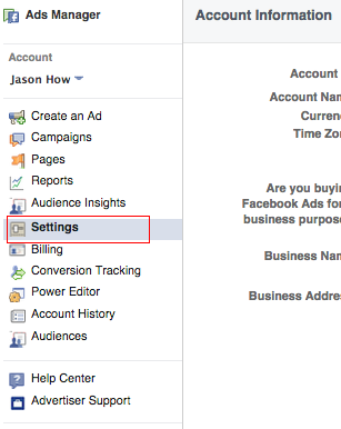 Accessing your Ad account settings