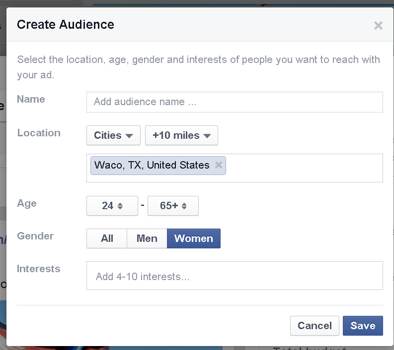 facebook ad audience