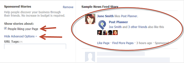 Not many things to edit or change here. You can choose to show a story in the News Feed when someone Likes your page -- and you can add URL tags.