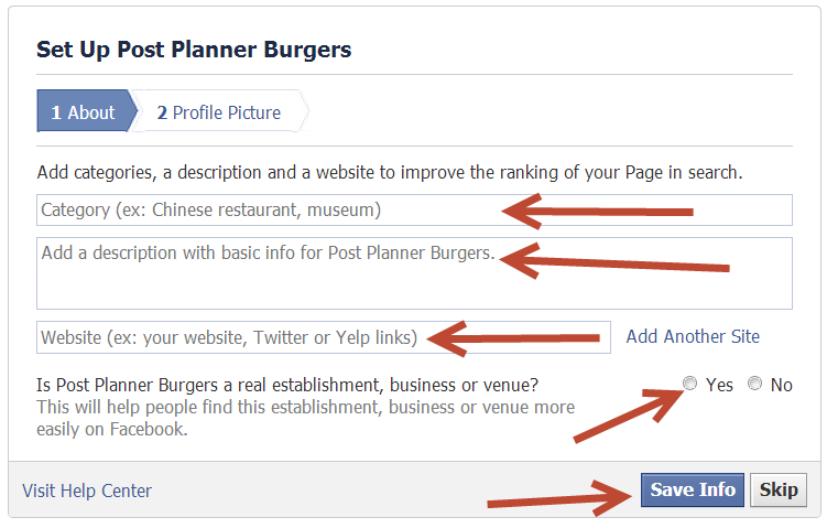 How to create a Facebook Business Page - Step 7.1