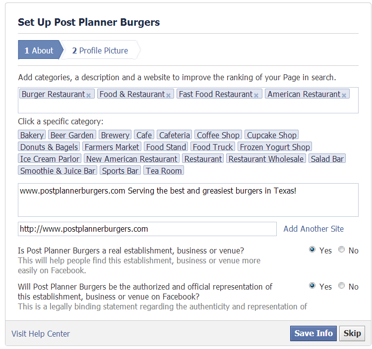 How to create a Facebook Business Page - Step 7.2