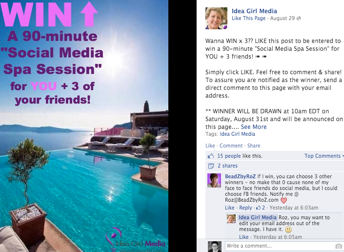facebook like and comment contest