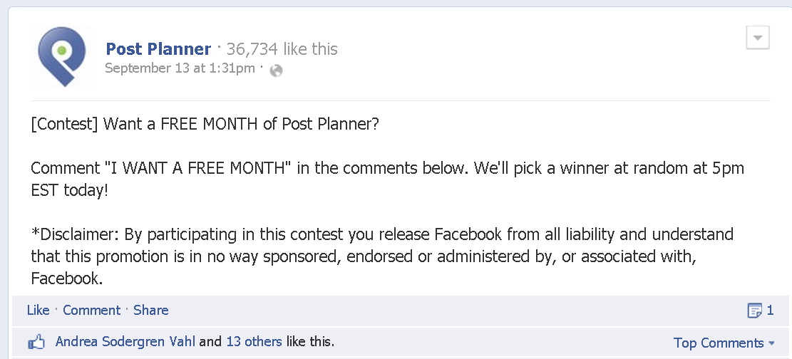 facebook comment contest