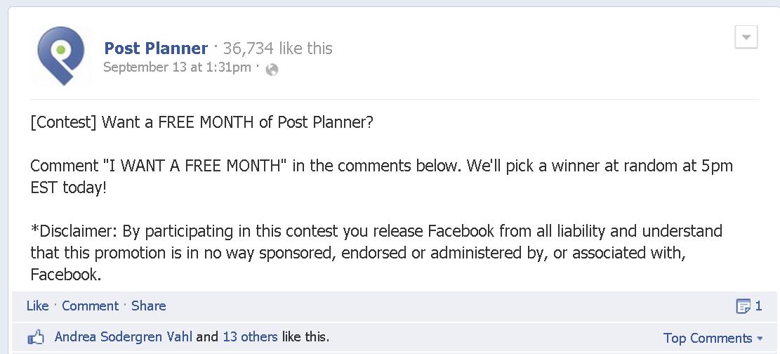 facebook comment contest