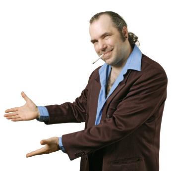 Sleazy salesman pointing