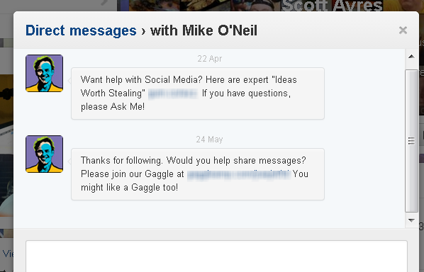 direct message spam on twitter