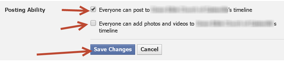 selecting settings for facebook