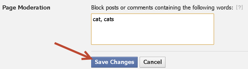 adding words to block on facebook