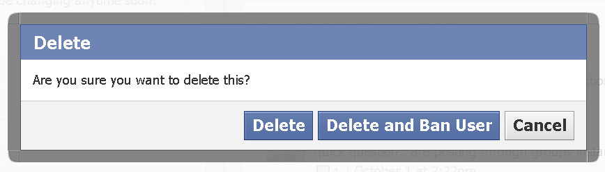 delete a ban a user on a facebook page