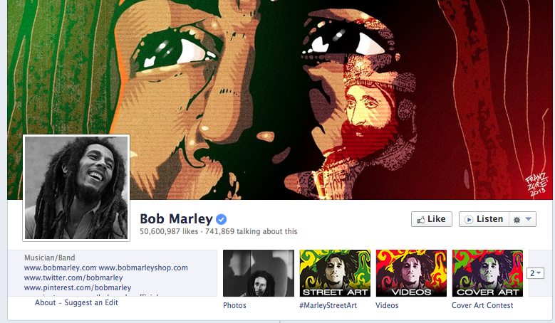 bob marley facebook cover photo