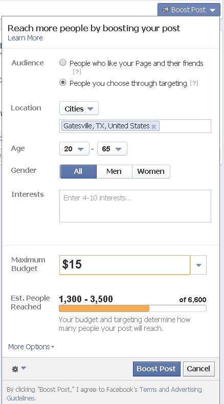 boosting a facebook post