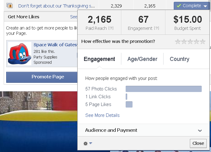 results of boosting a post on facebook