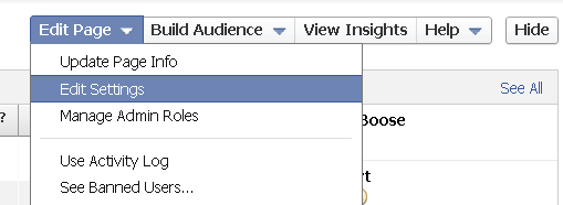edit page settings