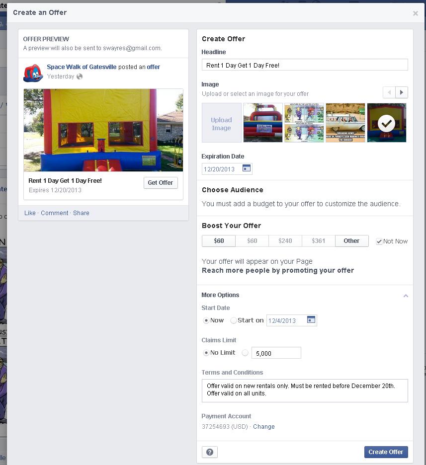 create a facebook offer