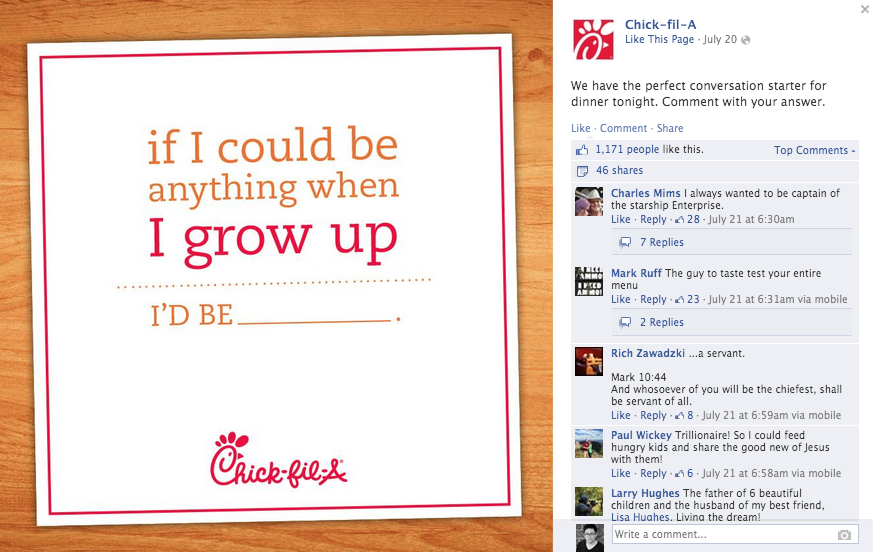 chick-a-fil facebook