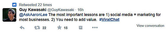 Guy Kawasaki advice #ViralChat