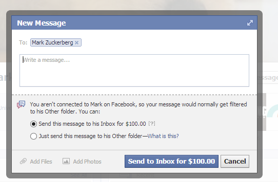 pay to message zuckerberg