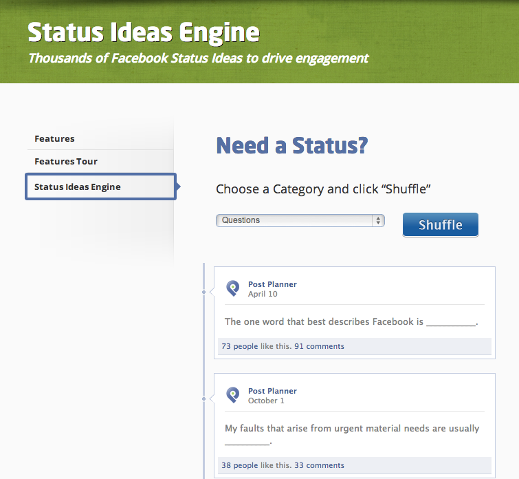 Facebook Status Ideas Engine