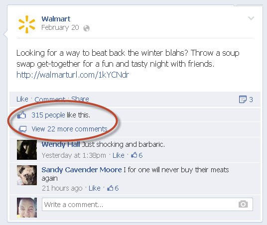low engagement on walmart facebook page