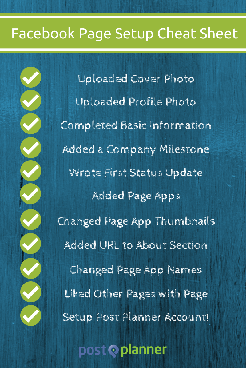 Facebook page setup cheat sheet