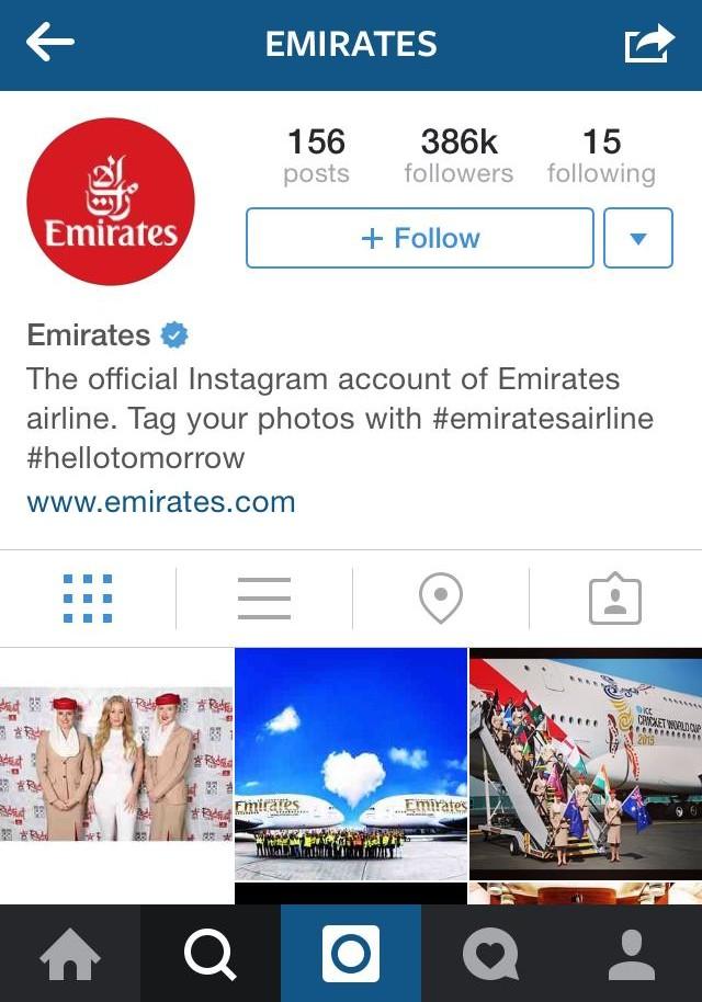 Emirates cool instagram bio ideas (graphic)
