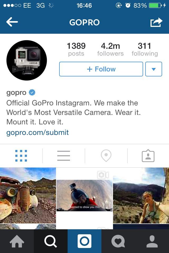 Go Pro cool instagram bio ideas (graphic)