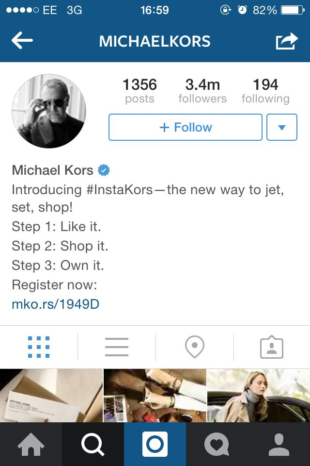 Michael Kors cool instagram bio ideas graphic.