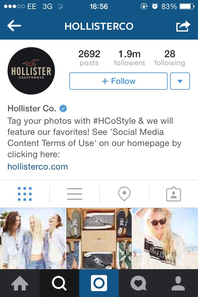 Hollister cool instagram bio ideas graphic