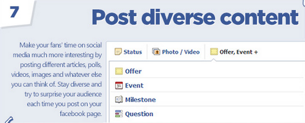 Facebook tips: Post diverse content