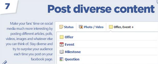 Facebook tips: Post diverse content