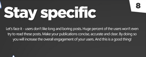 Facebook tips: focus and stay specific