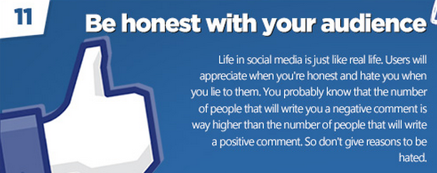 Facebook tips: Be honest!