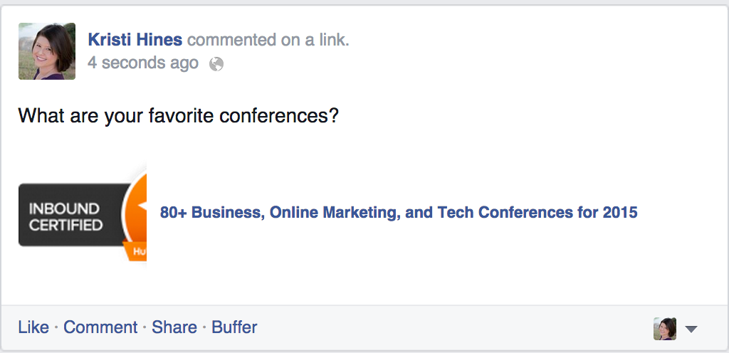 posting promotional comments on Facebook