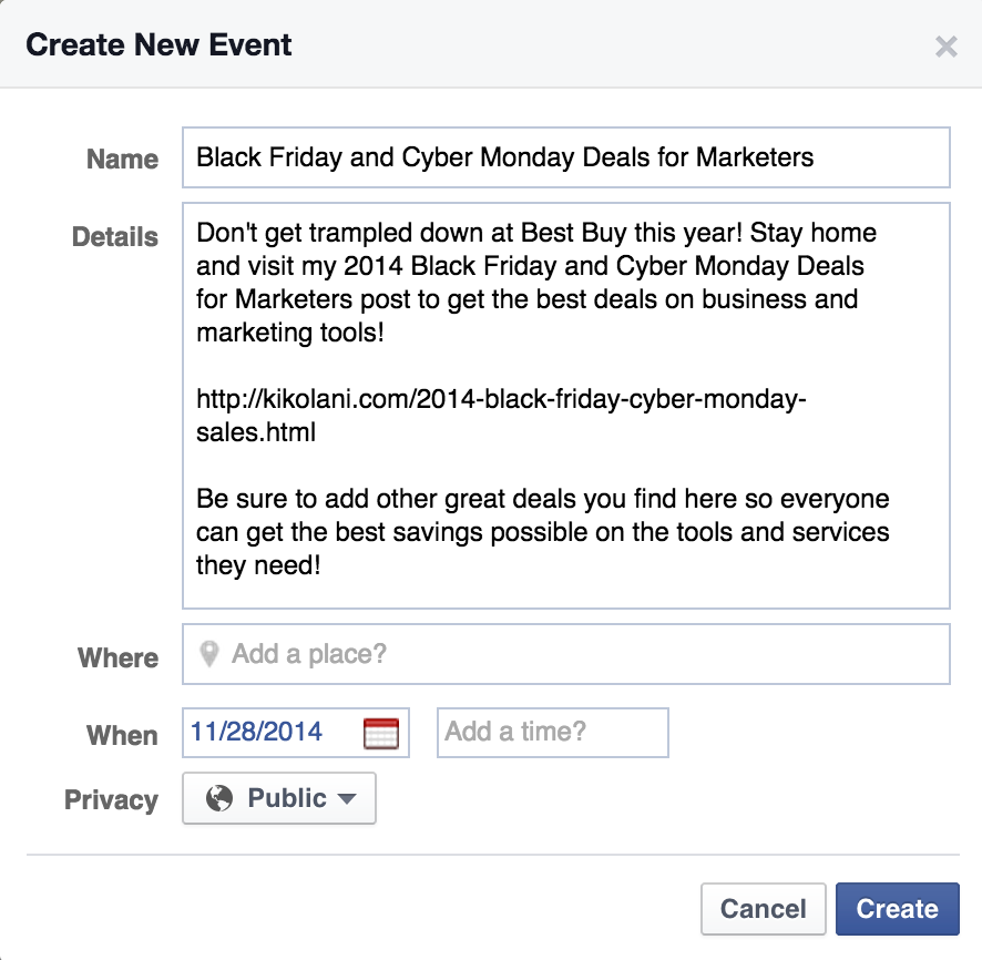 using Facebook events for promotions