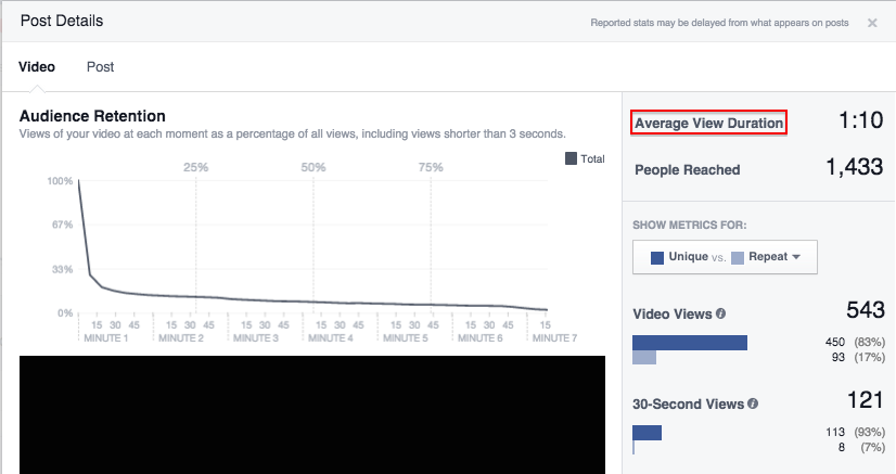 See average length of video viewed in Facebook Insights step 2