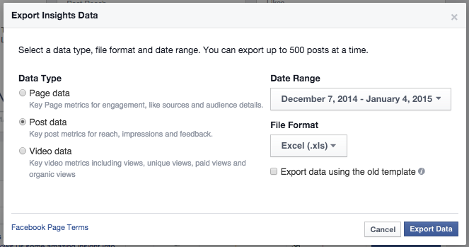 Export post data to see average video length - how to sell on Facebook