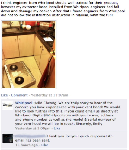 Whirlpool customer service social media apology