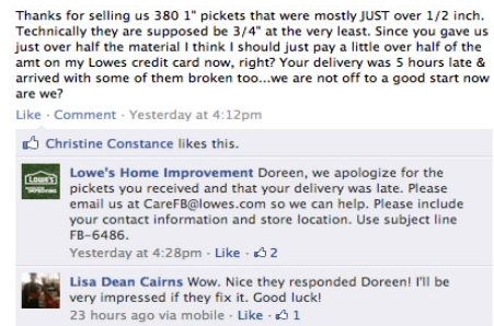 Lowes customer service social media apology