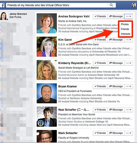 Using Facebook search for strategic research
