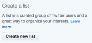 Create a new Twitter list