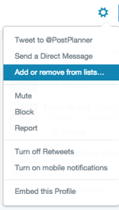 Add or remove someone to Twitter lists
