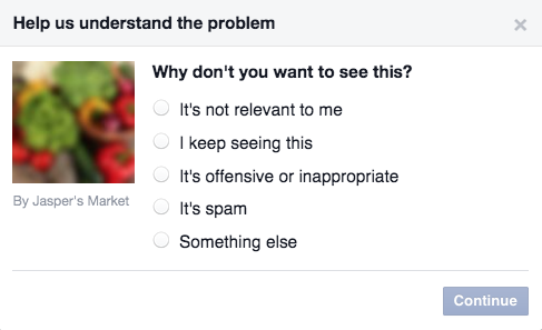 hiding facebook ad set
