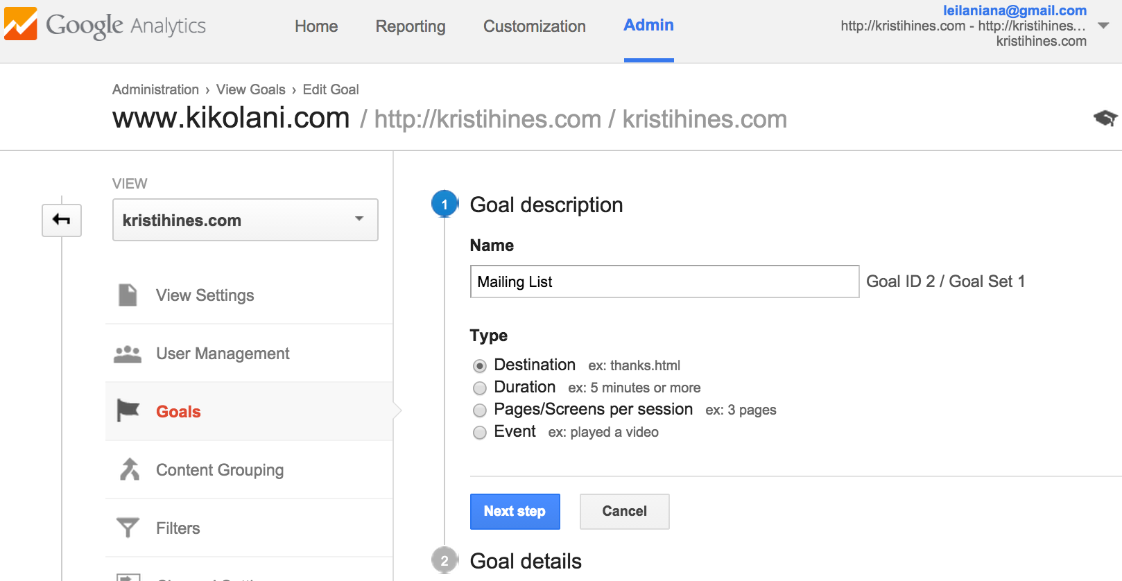 Setting goals for Facebook in Google Analytics