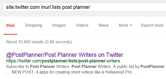 Google trick to find Twitter lists.