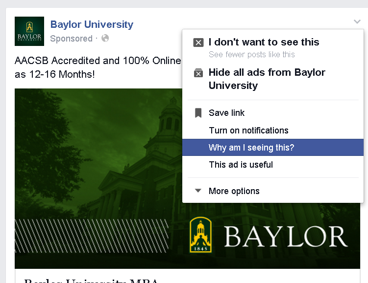 Facebook ads - example