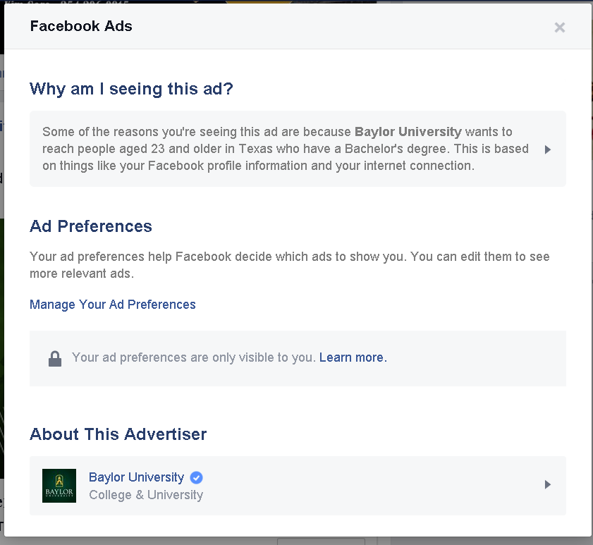 Baylor Facebook ad example