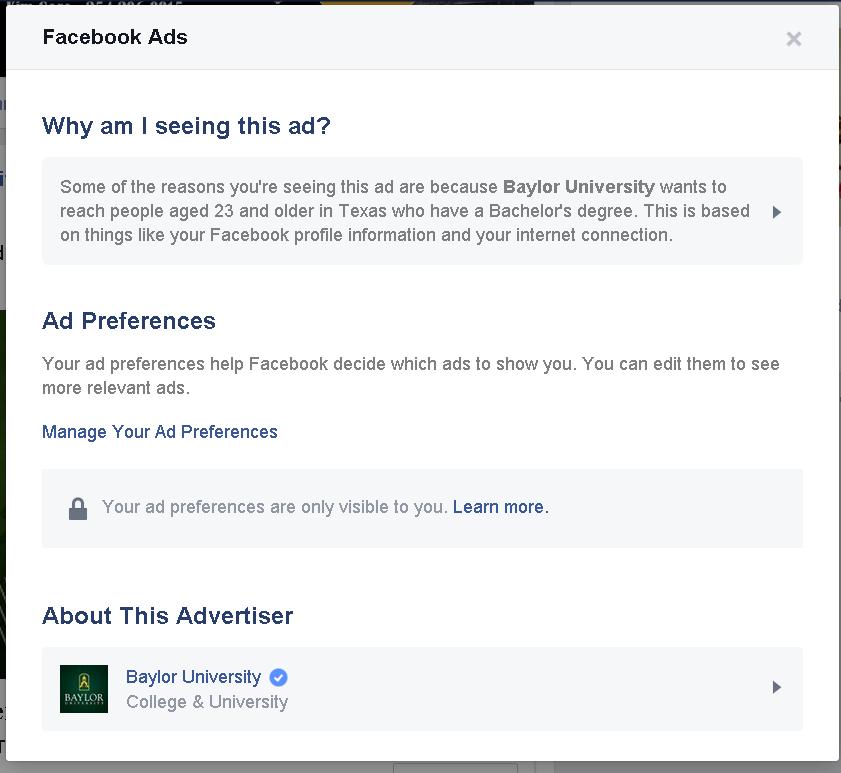 Baylor Facebook ad example