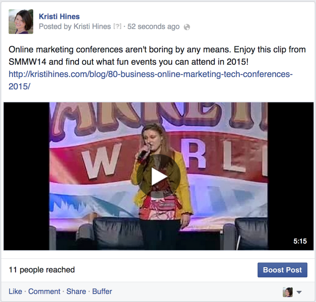 Video posts on Facebook for promotions